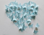 Baby Blue 3D Butterfly Heart Picture in Natural Wood Frame