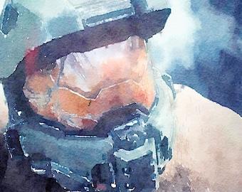 Halo series (6) digital Watercolor Poster Print Art