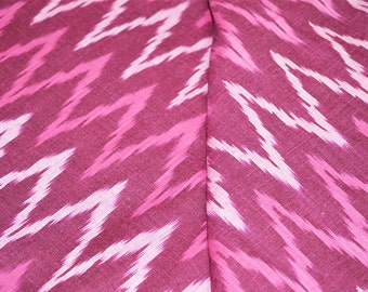 Handloom Ikat Fabric, Indian Cotton Fabric - Ikat Pattern Cotton Fabric in Wine Color.