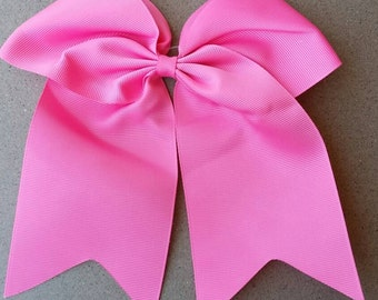 Cheer Bow with elastic band- Hot Pink