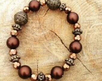 Brown Beaded Bracelet and Bohemian  handmade jewelry