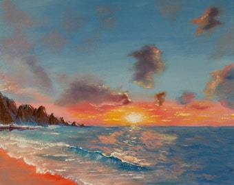 Seascape, sunset, sunrise at the ocean, ocean sun sunset sunrise sky textured   water waves rocks sky reflection home decor palette knife