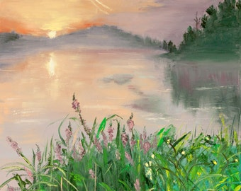 original oil painting signed lake sunset water reflection flowers sunrise sun sky flowers textured palette knife impasto FREE US SHIPPING
