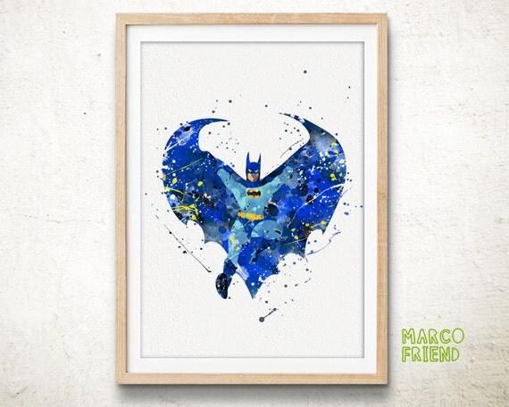 Batman Poster Watercolor Art Print Home Decor Gift By