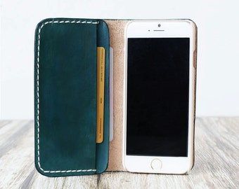 Personalized Leather IPhone 6 Case / iphone 6 wallet / women's or men's iPhone 6 wallet / iPhone 6 Plus Case Wallet - blue-green