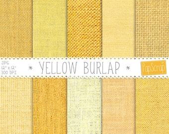 Burlap textures, Yellow Burlap, digital paper, burlap patterns in Yellow, colorful digital paper, Yellow fabric, linen backgrounds