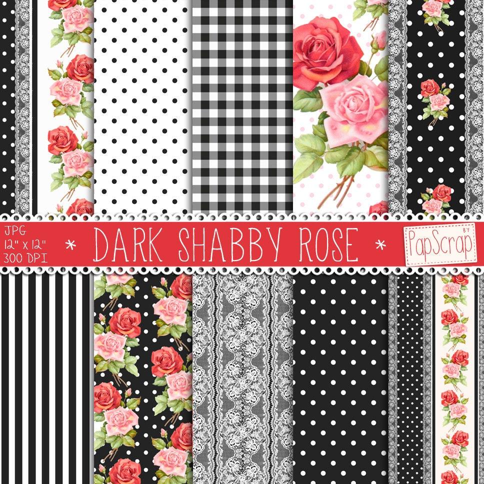 shabby chic digital paper dark shabby rose black. Black Bedroom Furniture Sets. Home Design Ideas