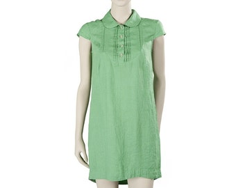 Short sleeves linen tunic with a bib-shaped area with buttons, light green pure linen tunic for summer