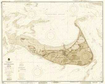 Nantucket Map 1971 - Sepia tone