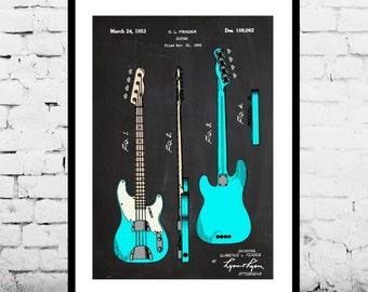Bass Guitar, Fender Bass Guitar Poster,Fender Bass Guitar Patent, Bass Guitar Print,Fender Bass Guitar Decor, Bass Guitar Blueprint p042