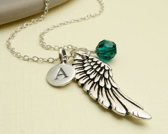 Personalized Silver Wing Necklace, Silver Angel Wing Necklace, Initial Necklace, Angel Wing Jewelry, Personalized Wing, Guardian Angel