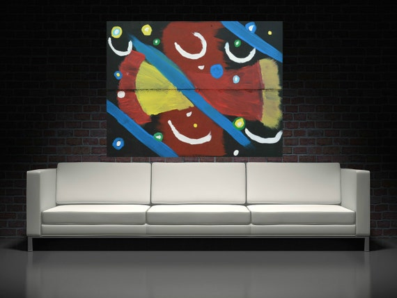 Abstract Painting Geometric Acrylic Painting On Wood Panel