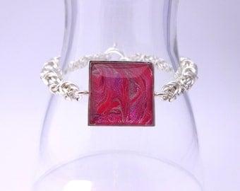 Pink Silver Byzantine Bracelet