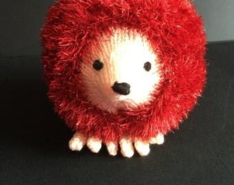 Hand knit stuffed toy Hedgehog..