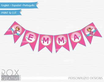 Girly Planes Banner Name Flag, Girly Planes Printable Banner, Baby Shower Girly Planes Banner