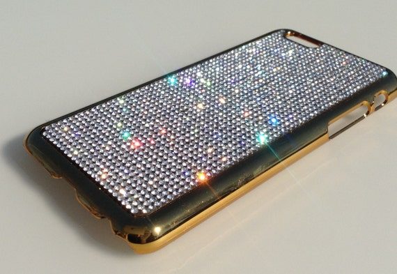 """iPhone 6 / 6s 4.7"""" Clear Diamond Rhinestone Crystals on Gold-Bronze Chrome Case. Velvet/Silk Pouch Included, Genuine Rangsee Crystal Cases."""