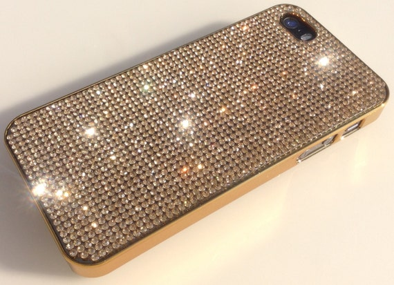 iPhone 5/5s/5se Gold Topaz Crystals on Gold-Bronze Electro Plated  Case. Velvet/Silk Pouch Bag Included, Genuine Rangsee Crystal Cases.