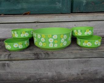 Vintage Set of Alladinware Green Daisy Print/ Plastic/ Salad Bowl/ Retro/ Bowls/ Alladinware/