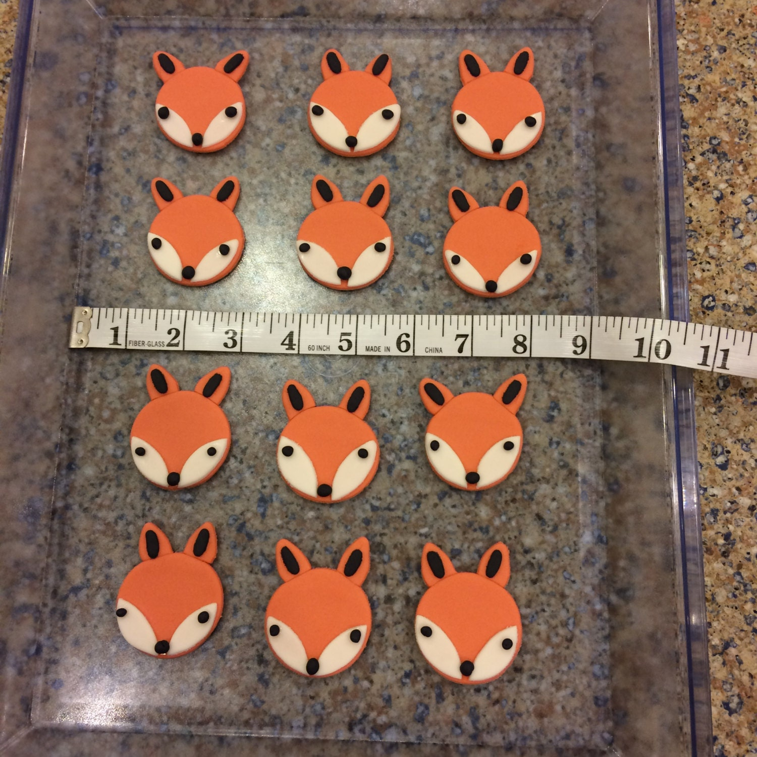 Handmade Edible Fondant Fox Cupcake Toppers by OceanViewSweets