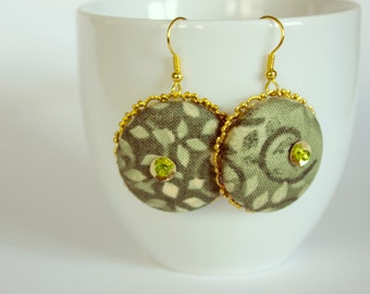 Dangle Green Fabric covered Button Earrings