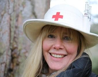 Nurses summer wide rimmed bowler with syringe pens