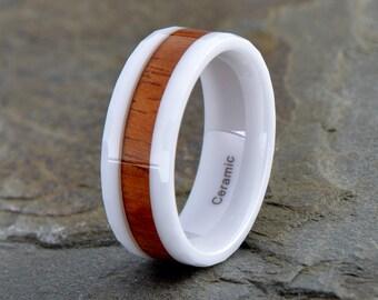 White Ceramic Wedding Band ,Ceramic Wood Inlay Ring, 8mm Wood Inlay Ceramic Band, White Ceramic Wood Anniversary Ring