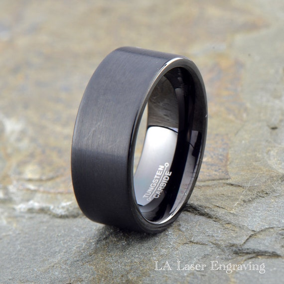 black brushed tungsten wedding band 9mm mens by