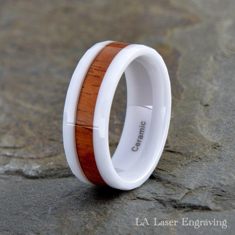 white ceramic wedding band ceramic wood inlay ring 8mm wood