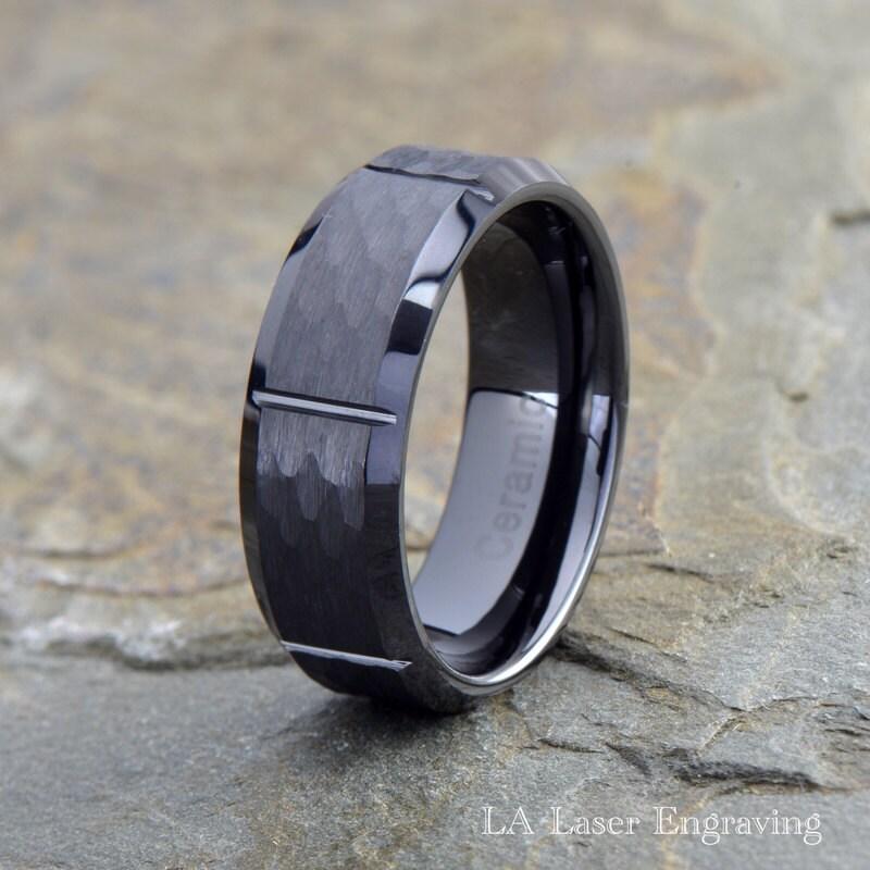 Ceramic Wedding Ring Mens Ceramic Wedding Band Grooved