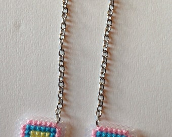 Pastel GameBoy Cross Stitch Earrings