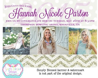 ANY COLOR Chevron Graduation Announcement- DIY By SimplyBlessedDesign