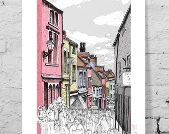 Art giclee print, market day, Catherine Hill, Frome UK. Urban architecture, bright, busy, colourful town.