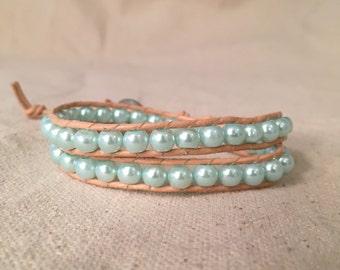 Light Blue Pearl Wrap Bracelet