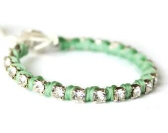Rhinestone Wrap Bracelet in Green