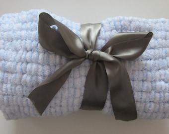 Baby Blue Newborn Baby Boy Snowball Blanket, Photo Prop, Newborn Wrap, Pom Pom Blanket, Pompom Blanket
