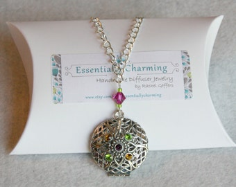 Essential Oil Diffuser Necklace with Filigree Rhinestone Pendant and Fushia Swarovski Crystal