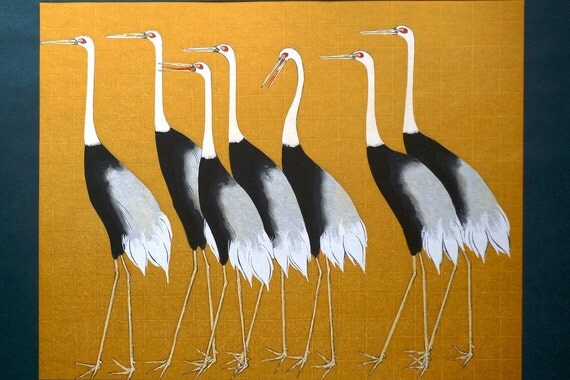Japanese antique woodblock print, Ogata Korin, cranes, Large size.