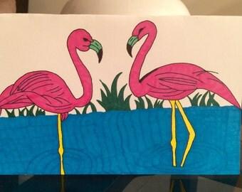 Pair of Flamingos Hand Made Greeting Card
