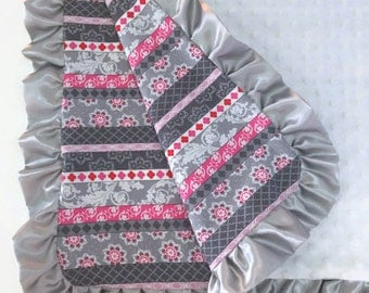 SALE  Pink and grey stripes baby blanket with white minky, ruffled baby blanket, minky baby blanket