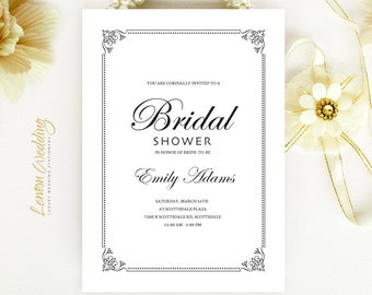Cheap Bridal Shower Invitations  - Calligraphy wedding shower cards printed on luxury pearlescent paper