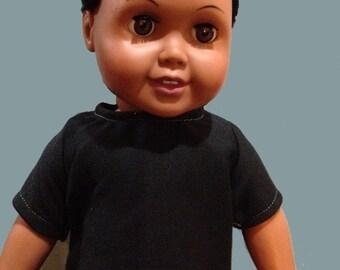 18 inch doll T-shirt American made boy doll black t-shirt