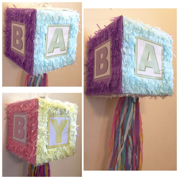 baby shower gender reveal block pinata by theperfectpinata