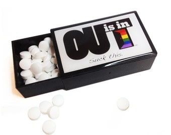 "OUT is in ""SUCK This"" Mints, sugar free mints, lacquered candy case, Pride mints, gay mints, LGBT"