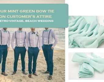 No#87, pastel mint green bow tie,mint bow tie,velcro strap,pocket square, cotton, toddler,groomsmen,men,mint theme wedding,mint wedding