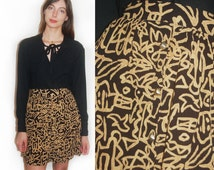 vintage 90s reconstucted tribal print skirt