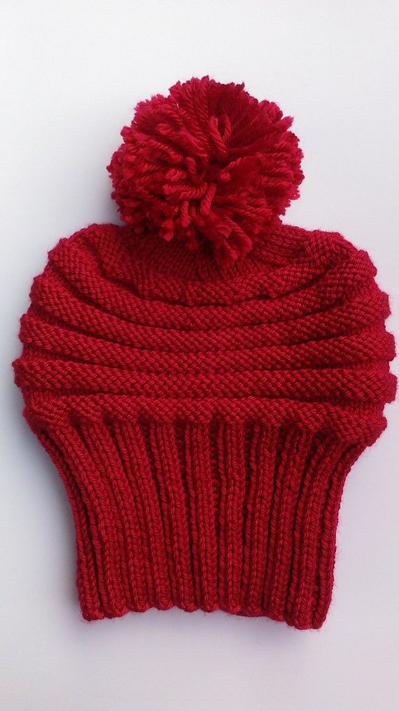 red knit hat winter red beanie red pom pom hat by ...