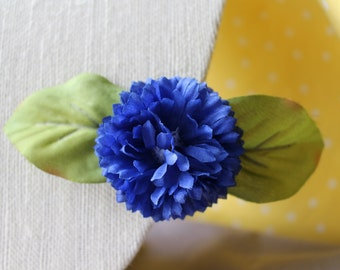 Small Blue Flower with Light Green Leaves Hair Clip