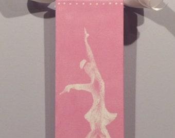 Figure Skating, Figure Skater, Figure Skater Art, Original Canvas Art, Girls Room, Ice Skating Art, Pink Girl Room, Ice Skater Silohuette