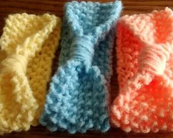 Baby Wrapped Headband, Knit Baby Headband