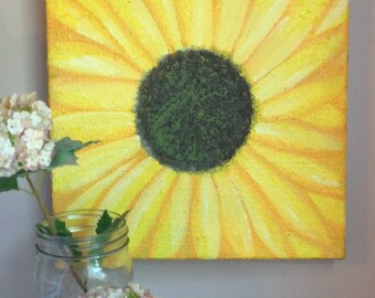 Sunflower Painting on Burlap Canvas